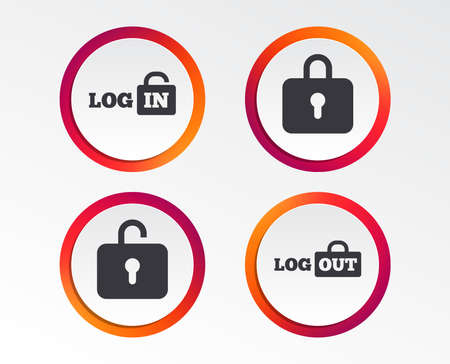 Login and Logout icons. Sign in or Sign out symbols. Lock icon. Infographic design buttons. Circle templates. Vector Ilustração