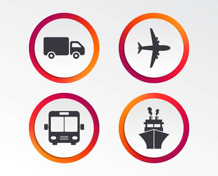 Transport icons. Truck, Airplane, Public bus and Ship signs. Shipping delivery symbol. Air mail delivery sign. Infographic design buttons. Circle templates. Vector