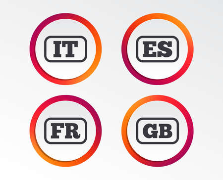 Language icons. IT, ES, FR and GB translation symbols. Italy, Spain, France and England languages. Infographic design buttons. Circle templates. Vector