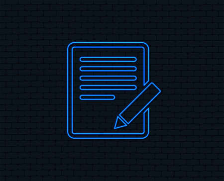 Neon light. Edit document sign icon. Edit content button. Glowing graphic design. Brick wall. Vector Illustration