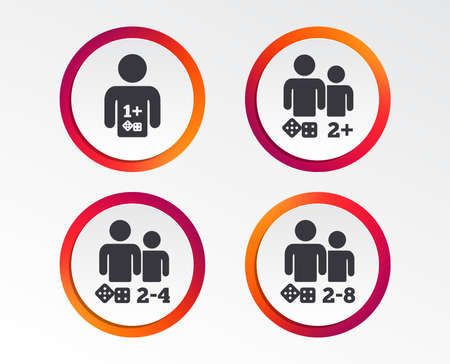 Iconos de juego. juegos de juegos de juego. símbolos de juego. botones de la tarjeta de círculo de infografía. vector Foto de archivo - 102061905