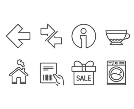 Set of Synchronize, Dry cappuccino and Left arrow icons. Parcel invoice, Sale offer and Washing machine signs. Communication arrows, Beverage mug, Direction arrow. Vector