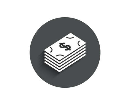 Cash money simple icon. Banking currency sign. Dollar or USD symbol. Circle flat button with shadow. Vector 向量圖像