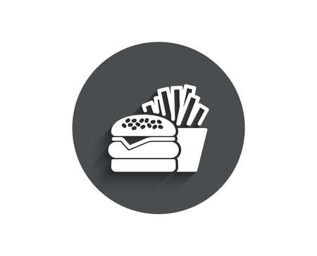 Burger with fries simple icon. Fast food restaurant sign. Hamburger or cheeseburger symbol. Circle flat button with shadow. Vector Illustration