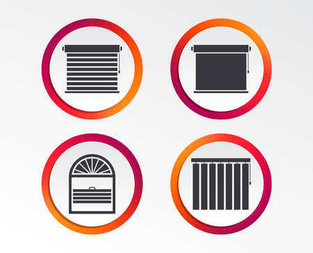 Plisse, rolls, vertical and horizontal. Window blinds or jalousie symbols. Infographic design buttons. Circle templates. Vector 일러스트