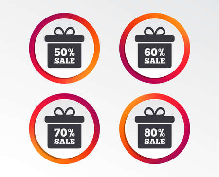 Sale gift box tag icons. Discount special offer symbols. 50%, 60%, 70% and 80% percent sale signs. Infographic design buttons. Circle templates. Vector Illustration