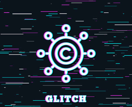 Glitch effect. Copywriting network line icon. Copyright sign. Content networking symbol. Background with colored lines. Vector