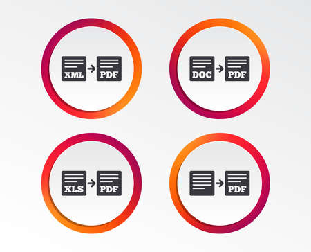 Export file icons.  Infographic design buttons. Circle templates. Vector