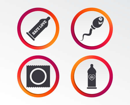 Safe sex love icons. Condom in package symbol. Sperm sign. Fertilization or insemination. Heart symbol. Infographic design buttons. Circle templates. Vector
