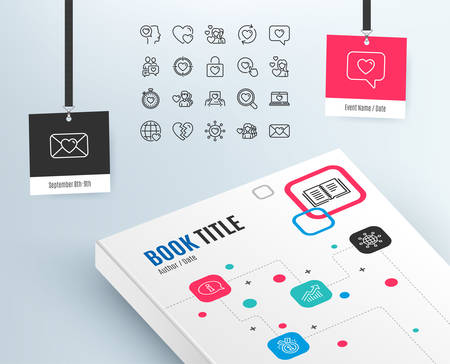Love line icons. Couple, Romantic and Heart signs. Valentines day symbols. Divorce or Break up. Graph, Info and award medal. International globe. Book template with Event badges. Vector