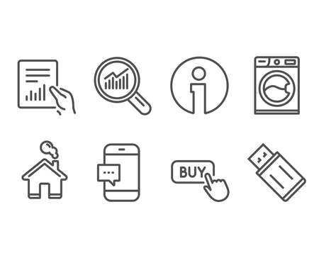 Set of Document, Washing machine and Buy button icons. Data analysis, Smartphone message and Usb flash signs. File with diagram, Laundry service, Online shopping. Vector