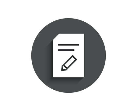 Edit Document simple icon. Information File sign. Paper page with pencil concept symbol. Circle flat button with shadow. Vector Illusztráció