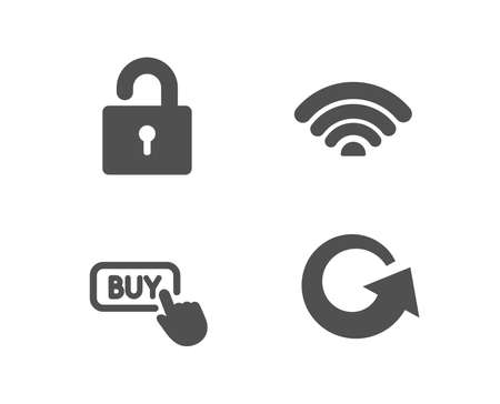 Set of Wifi, Buy button and Lock icons. Reload sign. Wi-fi internet, Online shopping, Private locker. Update.  Quality design elements. Classic style. Vector Banque d'images - 100114019