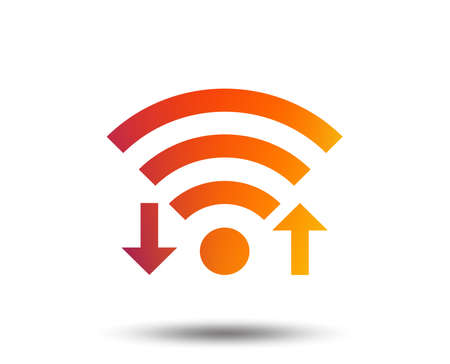 Wifi signal sign. Wi-fi upload, download symbol. Wireless Network icon. Internet zone. Blurred gradient design element. Vivid graphic flat icon. Vector