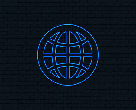 Neon light. Globe sign icon. World symbol. Glowing graphic design. Brick wall. Vector Illustration