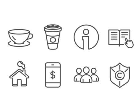 Set of Takeaway coffee, Smartphone payment and Espresso icons. Read instruction, Group and Ð¡opyright protection signs. Hot latte drink, Mobile pay, Coffee cup. Opened book, Group of users, Shield