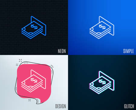 Glitch, Neon effect. Cash money line icon. Banking currency sign. Dollar or USD symbol. Trendy flat geometric designs. Vector