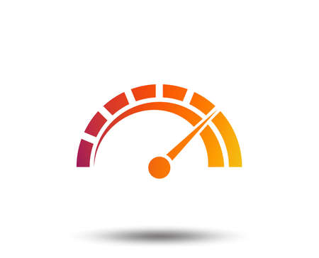 Tachometer sign icon. Blurred gradient design element. Vivid graphic flat icon. Vector