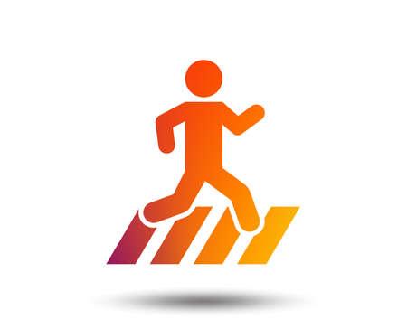 Crosswalk icon. Crossing street sign. Blurred gradient design element. Vivid graphic flat icon. Vector