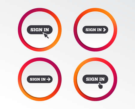 Sign in icons. Login with arrow, hand pointer symbols. Website or App navigation signs. Infographic design. Circle templates. Vector Illustration