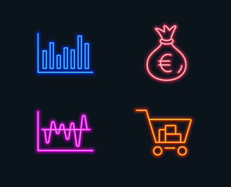 Neon lights. Set of Bar diagram, Money bag and Stock analysis icons. Internet shopping sign. Statistics infochart, Euro currency, Business trade. Cart with purchases.  Glowing graphic designs. Vector Illustration
