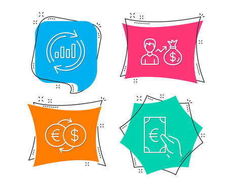 Set of Update data, Sallary and Money exchange icons. Finance sign. Sales chart, Person earnings, Eur to usd. Eur cash.  Flat geometric colored tags. Vivid banners. Trendy graphic design. Vector