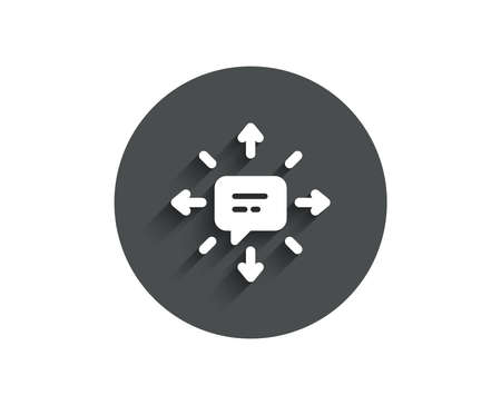 Conversation simple icon. Chat Messages or SMS sign. Communication symbol. Circle flat button with shadow. Vector Çizim