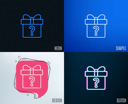 Glitch, Neon effect. Gift box with Question mark line icon. Present or Sale sign. Birthday Shopping symbol. Package in Gift Wrap. Trendy flat geometric designs. Vector