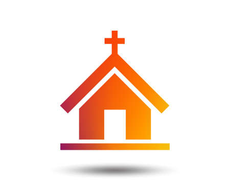Church icon. Christian religion symbol. Chapel with cross on roof. Blurred gradient design element. Vivid graphic flat icon. Vector