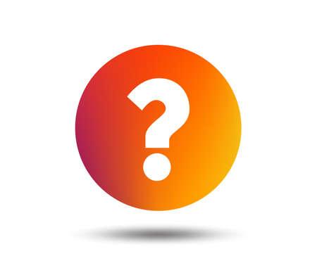 Question mark sign icon. Help symbol. FAQ sign. Blurred gradient design element. Vivid graphic flat icon. Vector Zdjęcie Seryjne - 100114046