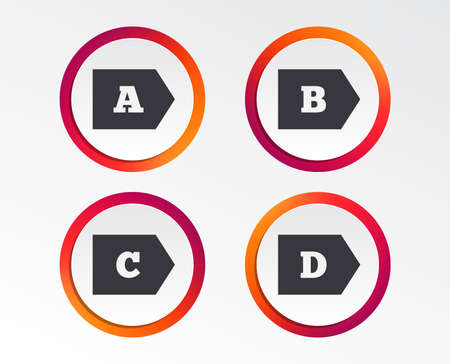 Energy efficiency class icons. Energy consumption sign symbols. Class A, B, C and D. Infographic design buttons. Circle templates. Vector Illustration
