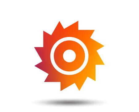 Saw circular wheel sign icon. Cutting blade symbol. Blurred gradient design element. Vivid graphic flat icon. Vector