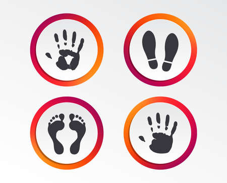 Hand and foot print icons. Imprint shoes and barefoot symbols. Stop do not enter sign. Infographic design buttons. Circle templates. Vector Illustration