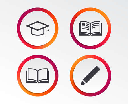 Pencil and open book icons. Graduation cap symbol. Higher education learn signs. Infographic design buttons. Circle templates. Vector Ilustração