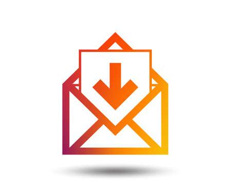 Mail icon. Envelope symbol. Inbox message sign. Mail navigation button. Blurred gradient design element. Vivid graphic flat icon. Vector