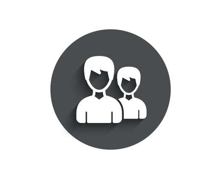 User simple icon. Couple or Group sign. Male Person silhouette symbol. Circle flat button with shadow. Vector