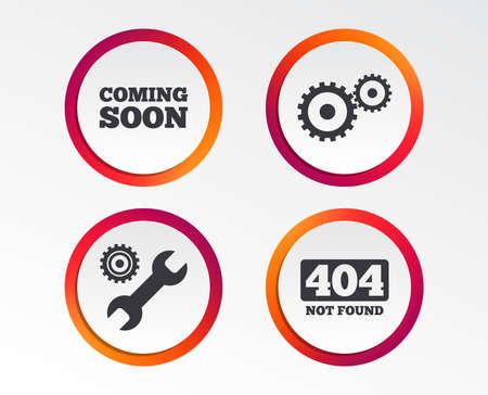 近日公開予定のアイコン。修理サービスツールとギアシンボル。レンチサイン。404 見つかりません。インフォグラフィックデザインボタン。円テン