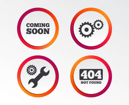 Coming soon icon. Repair service tool and gear symbols. Wrench sign. 404 Not found. Infographic design buttons. Circle templates. Vector Ilustração