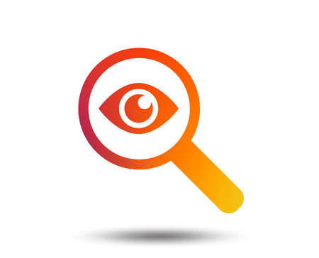 Investigate icon. Magnifying glass with eye symbol. Blurred gradient design element. Vivid graphic flat icon. Vector Illustration