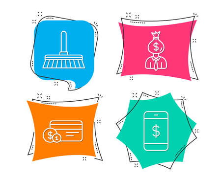 Set of Cleaning mop, Payment method and Manager icons. Smartphone payment sign. Sweep a floor, Work profit, Mobile pay.  Flat geometric colored tags. Vivid banners. Trendy graphic design. Vector