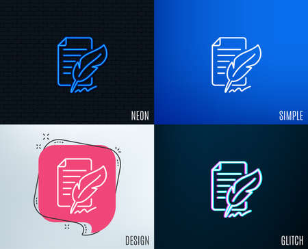 Glitch, Neon effect. Feather signature line icon. Copywriting sign. Feedback symbol. Trendy flat geometric designs. Vector