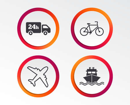 Cargo truck and shipping icons. Shipping and eco bicycle delivery signs. Transport symbols. 24h service. Infographic design buttons. Circle templates. Vector