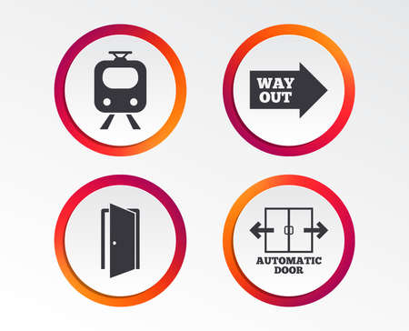 Train railway icon. Automatic door symbol. Way out arrow sign. Infographic design buttons. Circle templates. Vector
