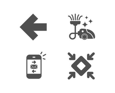Set of Left arrow, Vacuum cleaner and Mail icons. Minimize sign. Direction arrow, Vacuum-clean, Smartphone communication. Small screen.  Quality design elements. Classic style. Vector