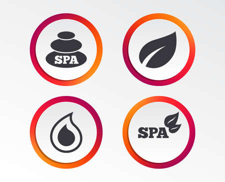 Spa stones icons. Water drop with leaf symbols. Natural tear sign. Infographic design buttons. Circle templates. Vector