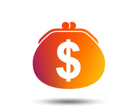 Wallet dollar sign icon. Cash bag symbol. Blurred gradient design element. Vivid graphic flat icon. Vector Illustration
