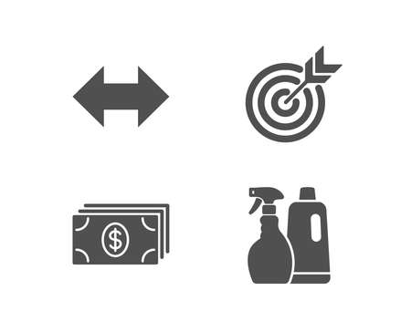 Set of Target, Banking and Sync icons. Shampoo and spray sign. Targeting, Money payment, Synchronize. Washing liquids.  Quality design elements. Classic style. Vector 일러스트