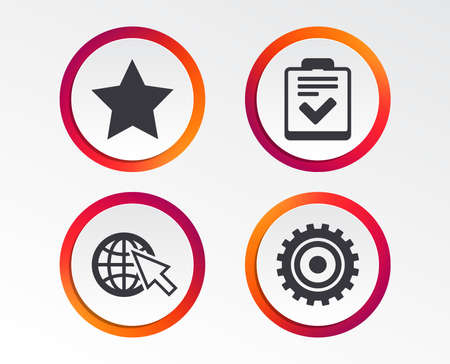 Star favorite and globe with mouse cursor icons. Checklist and cogwheel gear sign symbols. Infographic design buttons. Circle templates. Vector