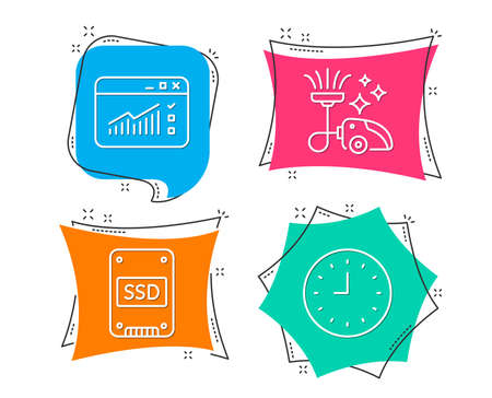 Set of Vacuum cleaner, Ssd and Web traffic icons. Clock sign. Vacuum-clean, Solid-state drive, Website window. Time or watch.  Flat geometric colored tags. Vivid banners. Trendy graphic design. Vector Illustration