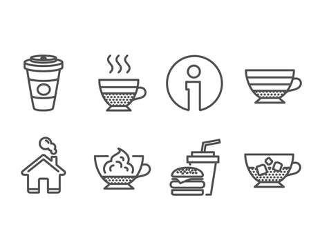 Set of Cafe creme, Cappuccino and Hamburger icons. Takeaway coffee, Espresso cream and Cold coffee signs. Burger with drink, Hot latte drink, Cafe con panna. Ice cubes in beverage. Vector